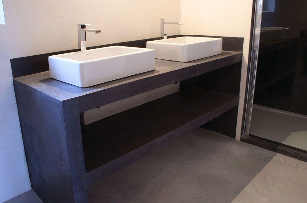 Meuble Beton Cire Salle de Bain Béton Ciré Meuble de | Bathroom ...