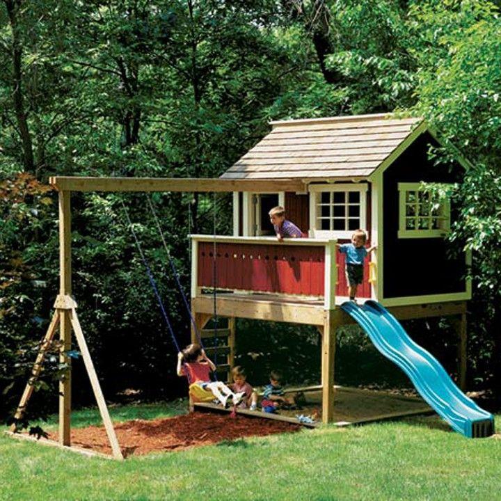 backyard playhouse plan rockler woodworking tools module de jeux pour enfant dans le jardin. Black Bedroom Furniture Sets. Home Design Ideas