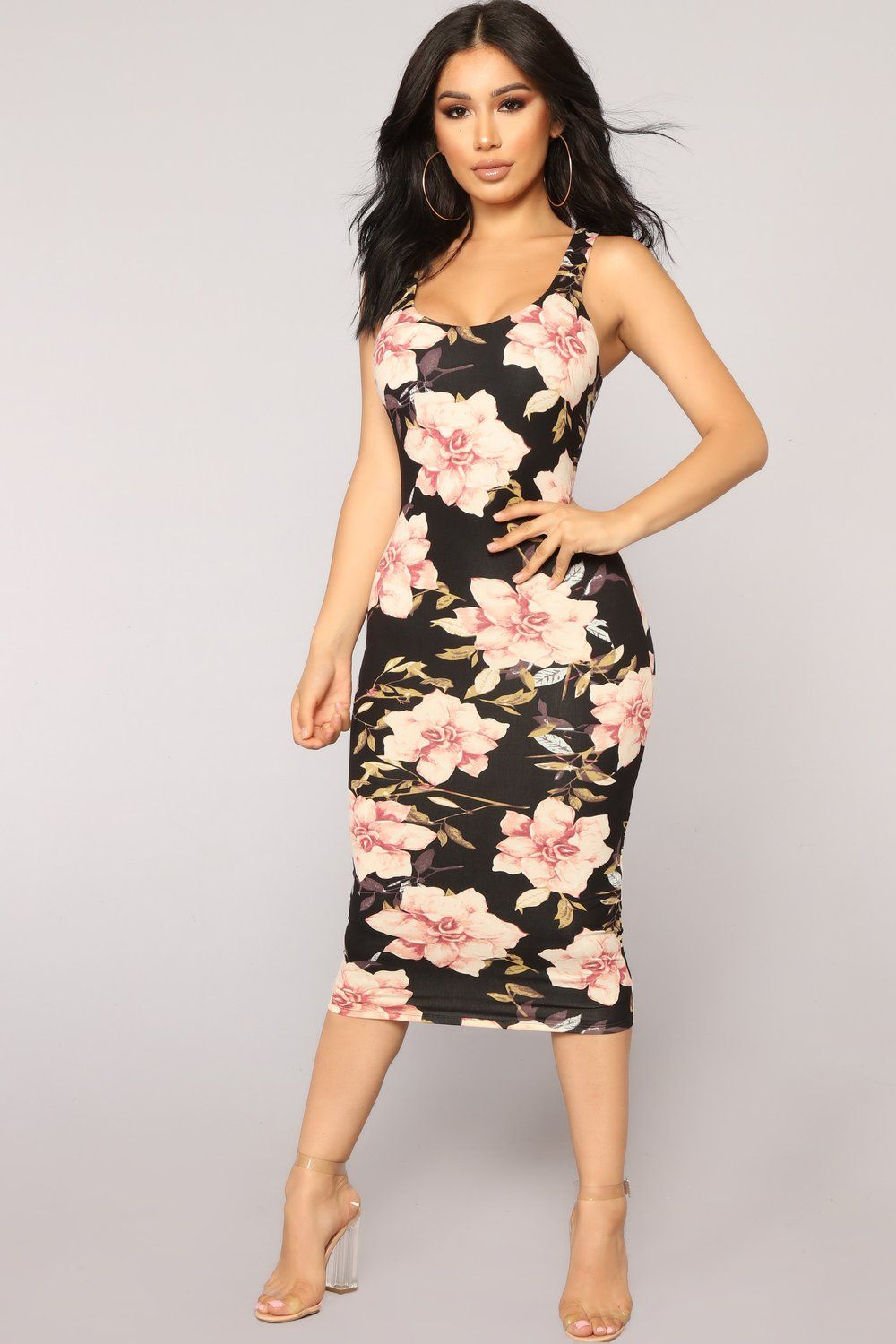 Need More Flowers Dress Black Fitted Floral Dress Bodycon Floral Dress Floral Bodycon Dress Outfit [ 1500 x 1000 Pixel ]