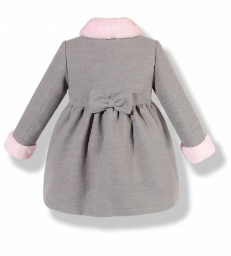 Precioso Abrigo Infantil De Paño Gris Con Cuello Y Puños En Pelo Rosa Para Niña Vestidos Infantis Moda Infantil Moda Para Criança