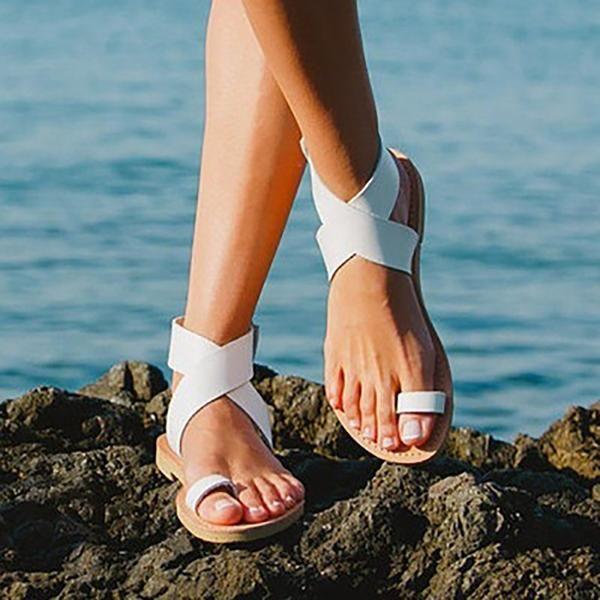 f9dcb4affbd Sandals - Summer Beach Open-toe Flat Sandals – Kaaum Ankle Strap Heels