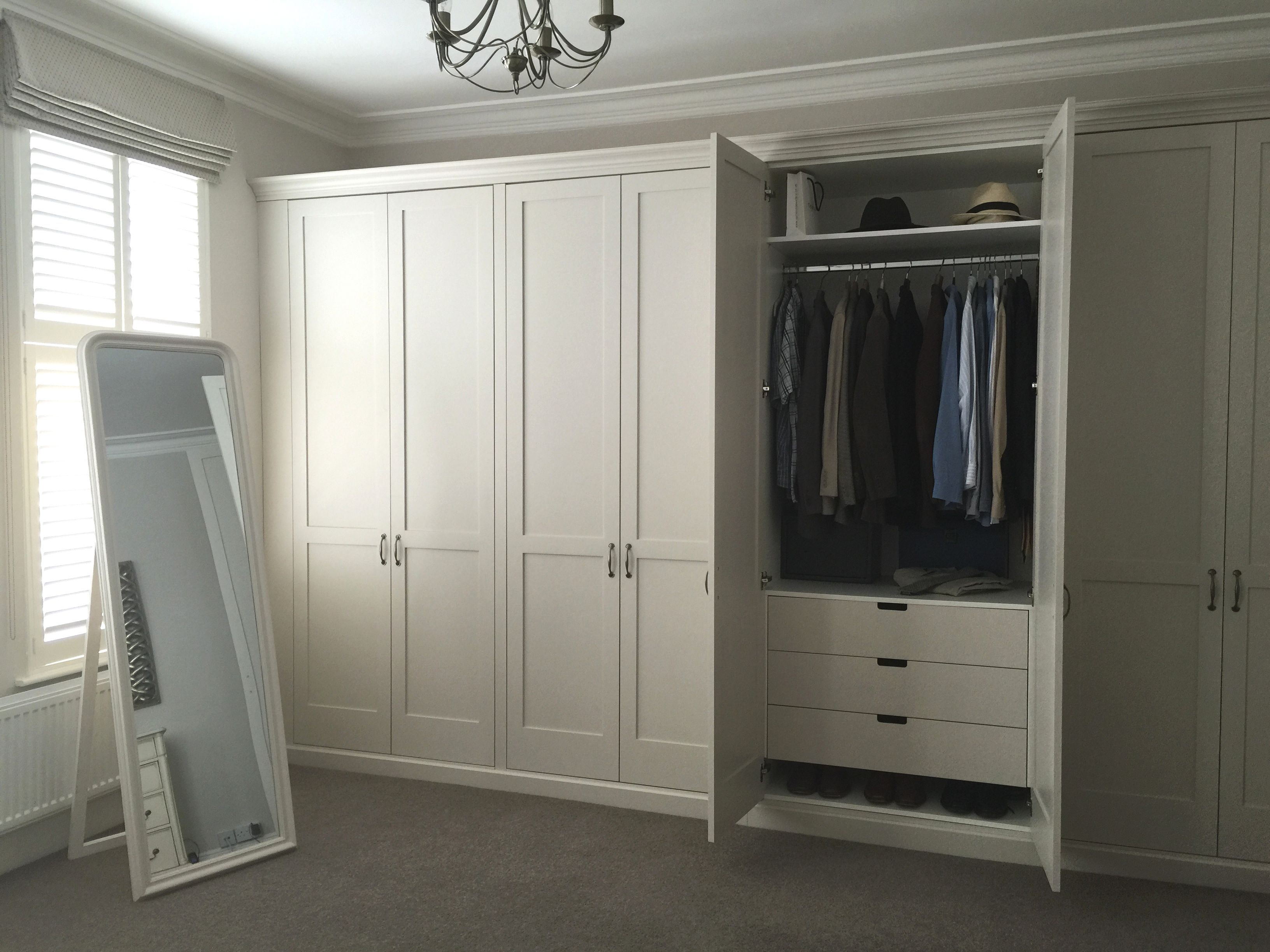Traditional Shaker Wardrobes With Drawers Inside Shelves And Hanging Rail Detailed Cornice And Skirt Build A Closet Wardrobe Closet Storage Wardrobe Drawers