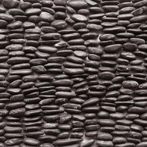 "Decorative Stone Wall Tiles Solistone 15Pack 4"" X 12"" Standing Decorative Pebbles Black"