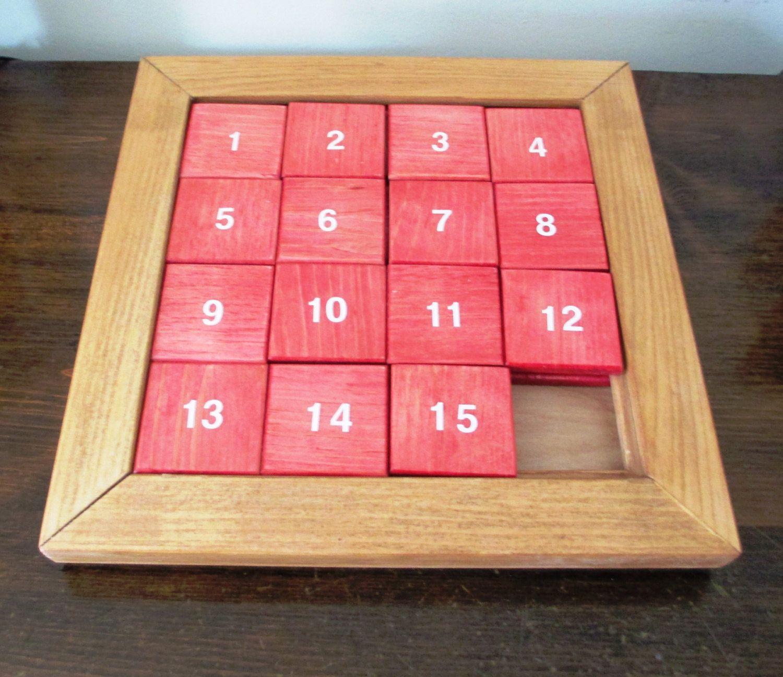 Wood Sliding Number Puzzle Woods sliding, Number puzzles