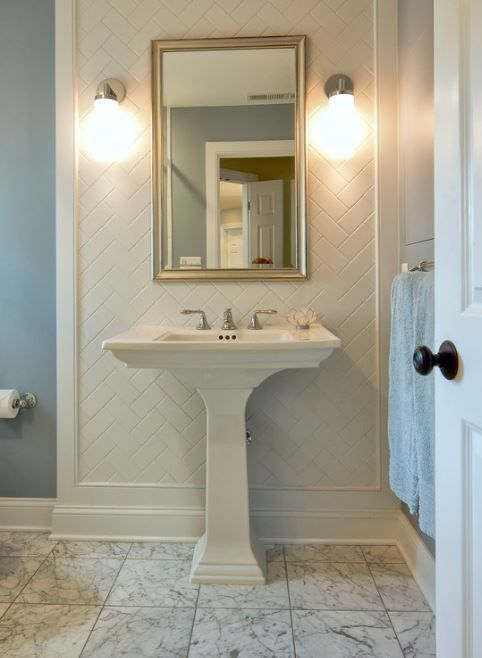 Bathroom Remodel Portland Set snow white 3x6 subway tile set on herringbone pattern - portland