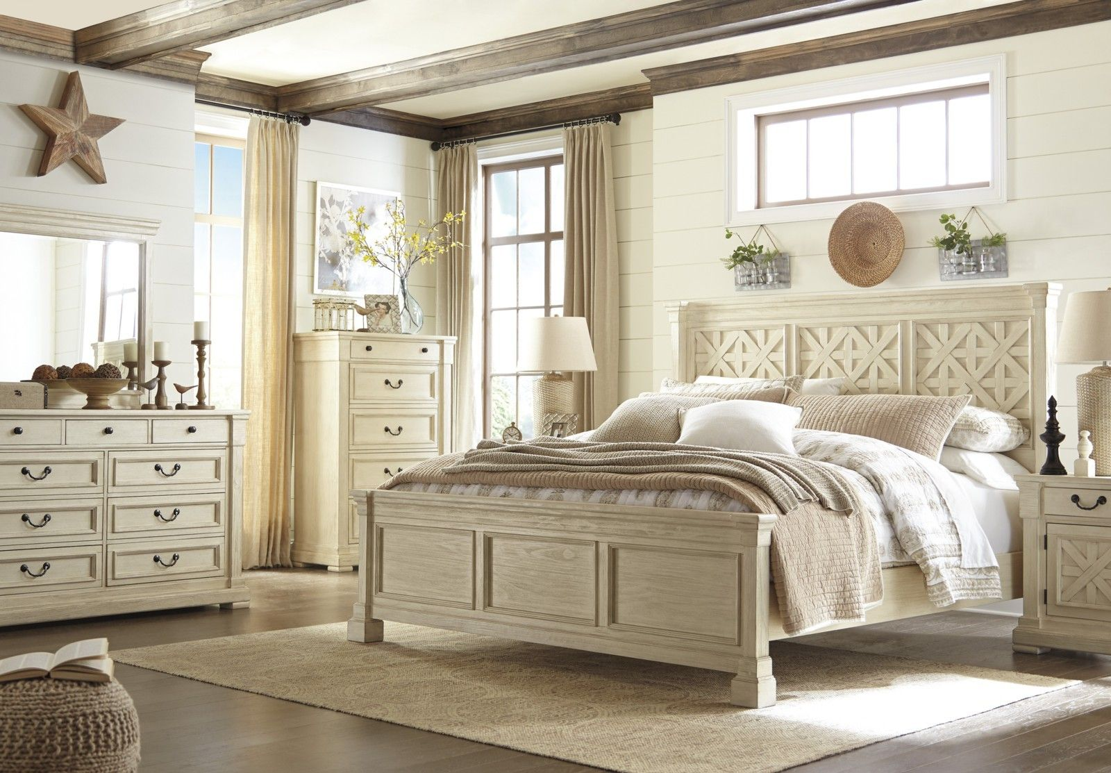 Best Bolanburg Queen Panel Bed In White With Night Table 400 x 300