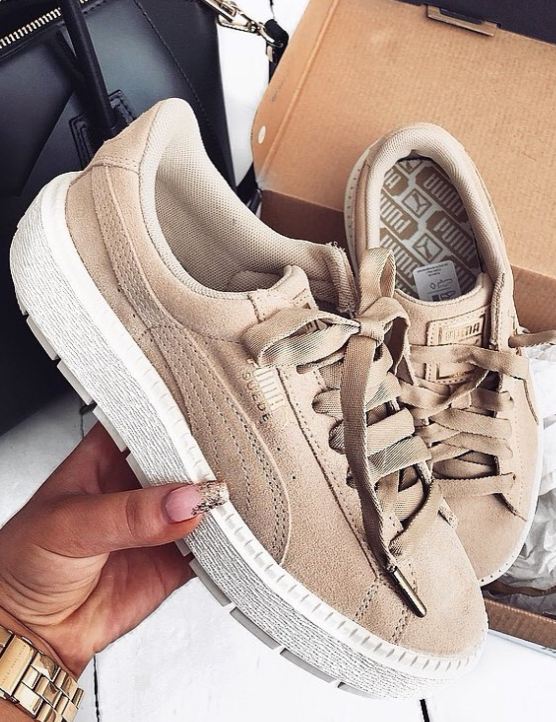 b026f1b27c Neutral Puma sneakers - Nude Puma Cali Cream Tan sneakers for women | Photo  by @
