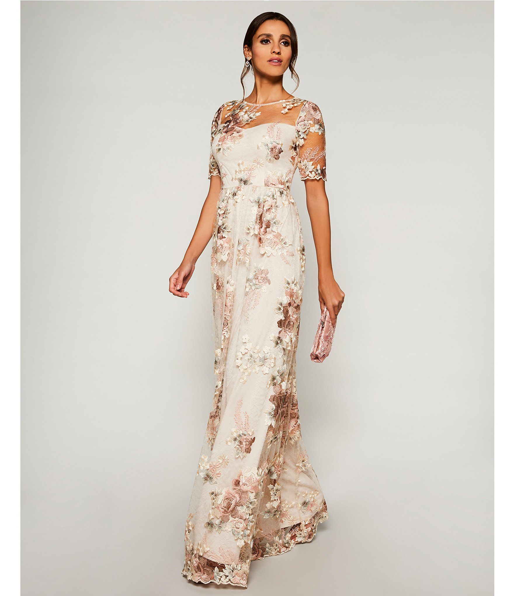Adrianna Papell Floral Embroidered Long Gown Dillards Mother Of Groom Dresses Mother Of Bride Outfits Mom Wedding Dress
