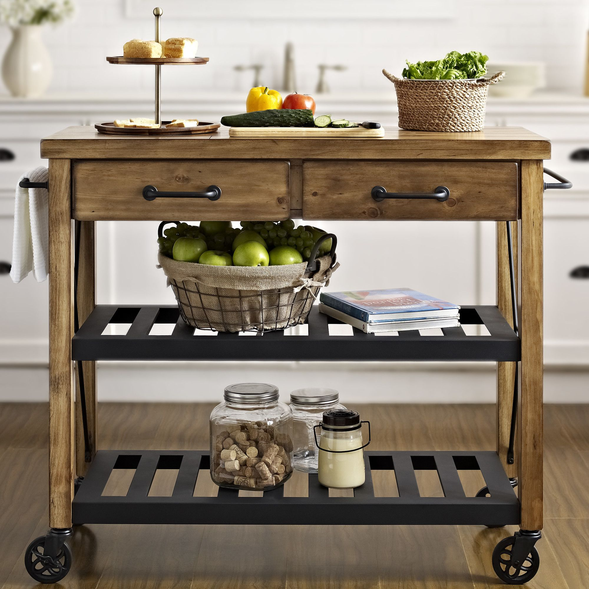 kitchen cart on wheels home depot range crosley roots rack with wood top reviews wayfair