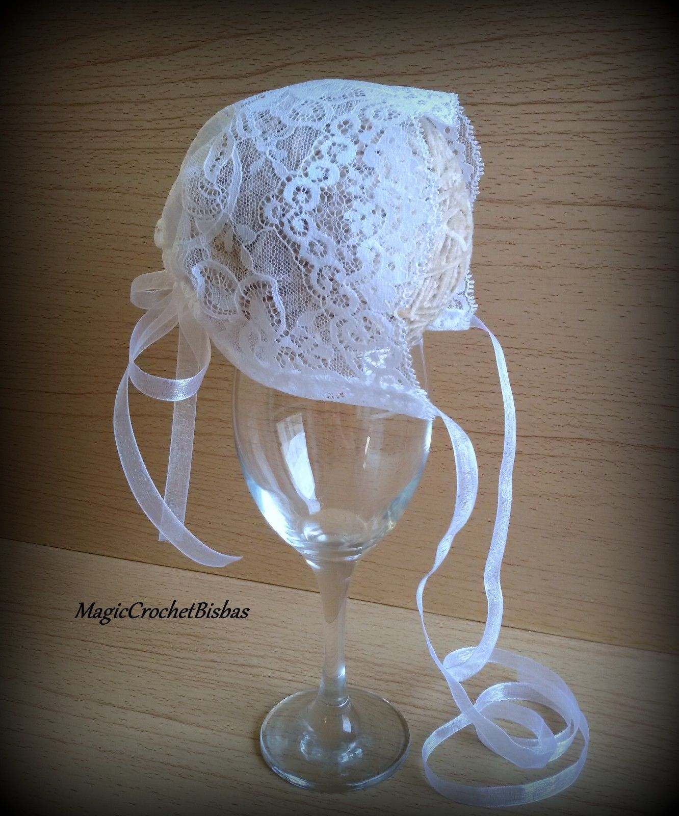 christening bonnet LACE Handmade Baby Bonnet Photo Prop baptism bonnet