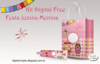 "Printable set--KIT DIGITAL 'FESTA JUNINA PARA MENINAS"" - Convites Digitais Simples"