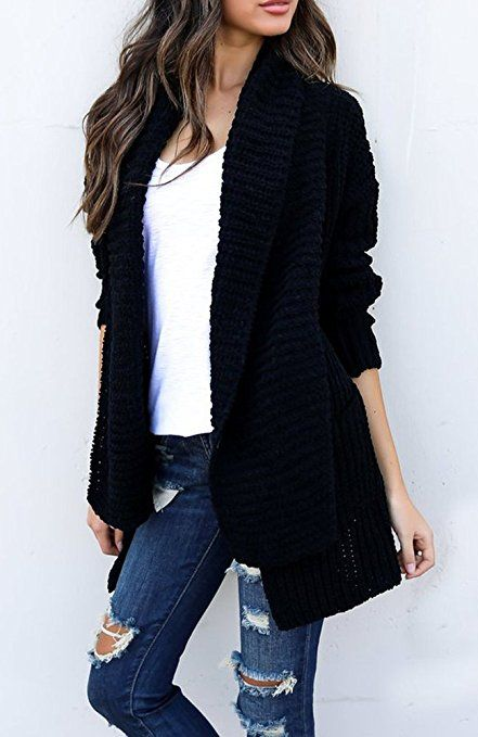 Sweater Cardigan Oversized Women s Loose Fit Long Sleeve Knitted Cardigan  Sweaters Outerwear with Pocket 8c809e7b4