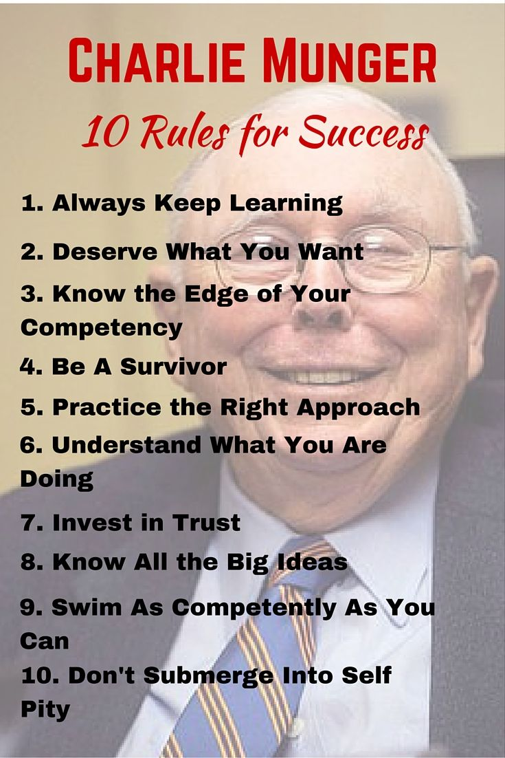 Charlie Munger's 10 Rules for Success Inspirational