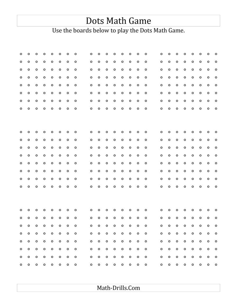 The Dots Math Game Boards For Offline Use Math Worksheet From The Dots Math Games Page At Free Printable Math Worksheets Math Games Math Subtraction Worksheets
