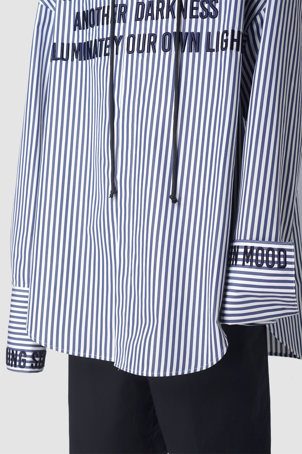 J Hooded Oversized Embroidered Stripe Shirt