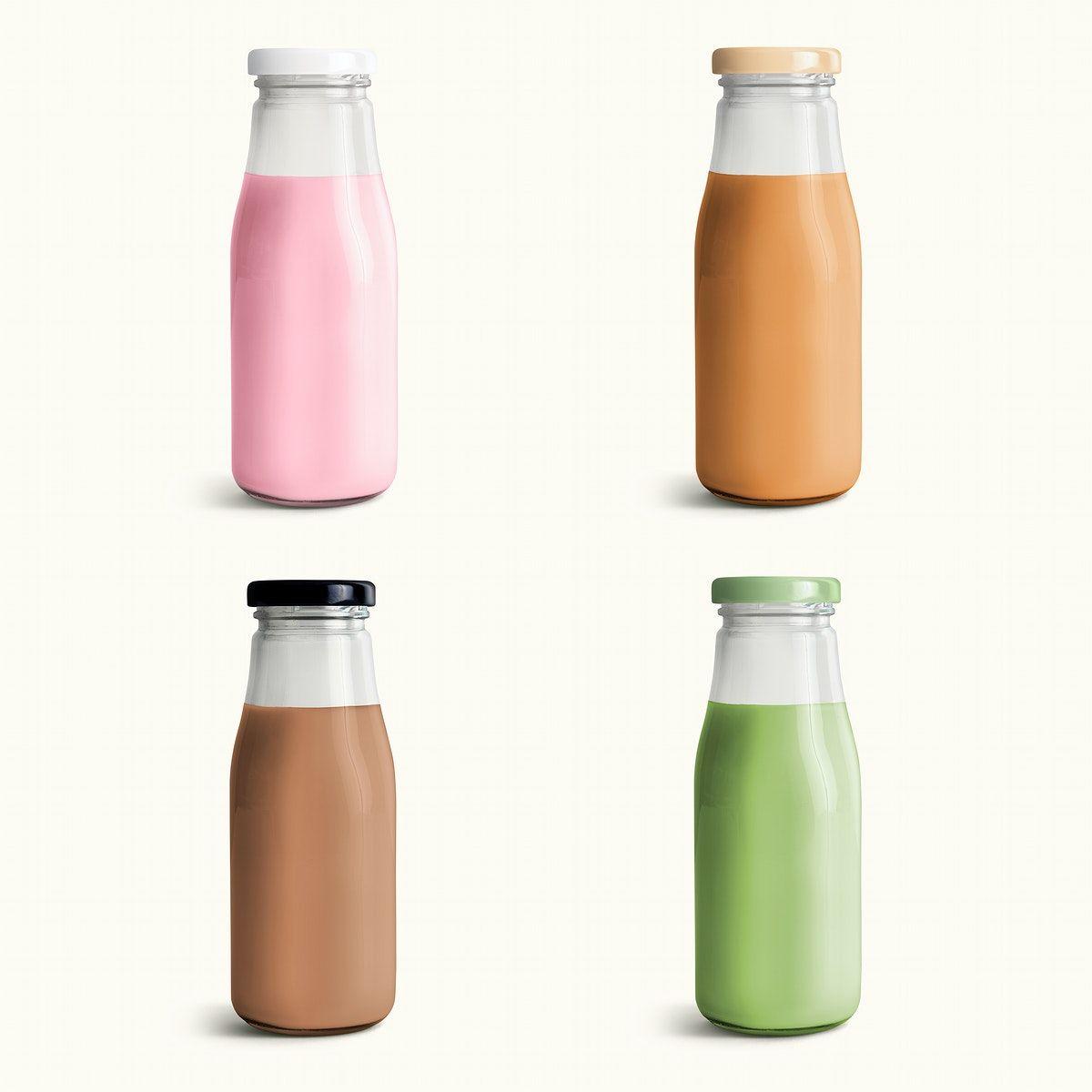 Download Download Premium Psd Of Milk Tea In Glass Bottles Mockup Set 2384751 Milk Packaging Milk Tea Bottle Mockup