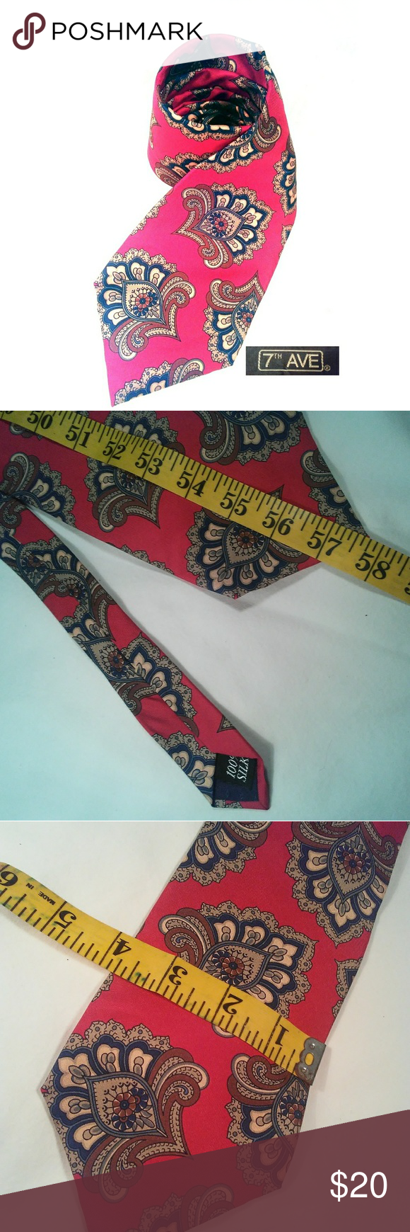 2bd14b2efbe 100%SILK 7th Ave Red Mens Tie~LN