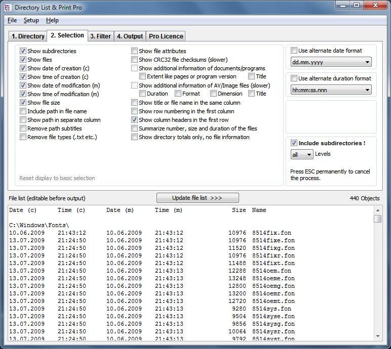 directory list & print for windows