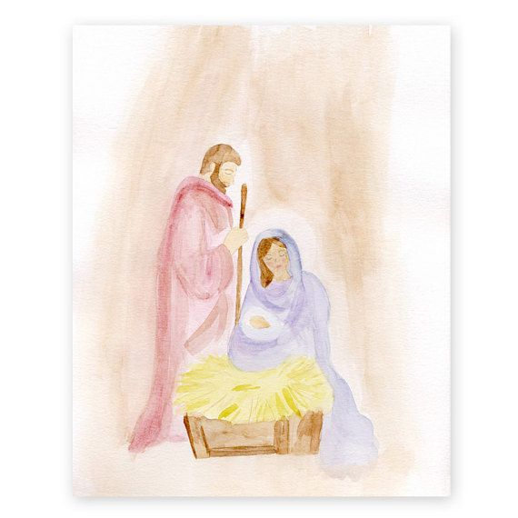 Nativity Christmas Print Giclee Watercolor By
