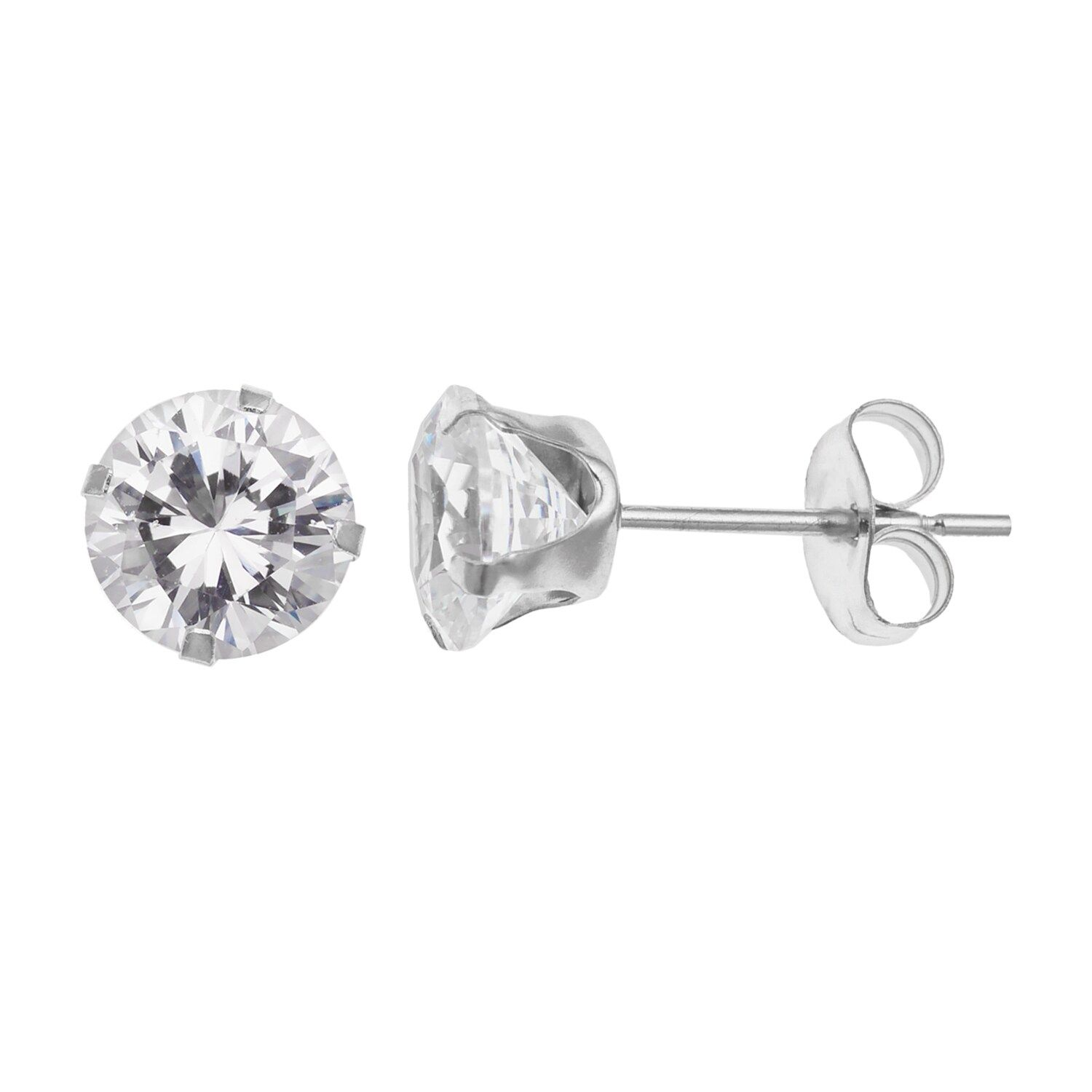 10k White Gold Cubic Zirconia Stud Earrings In 2020 Stud Earrings White Gold Earrings