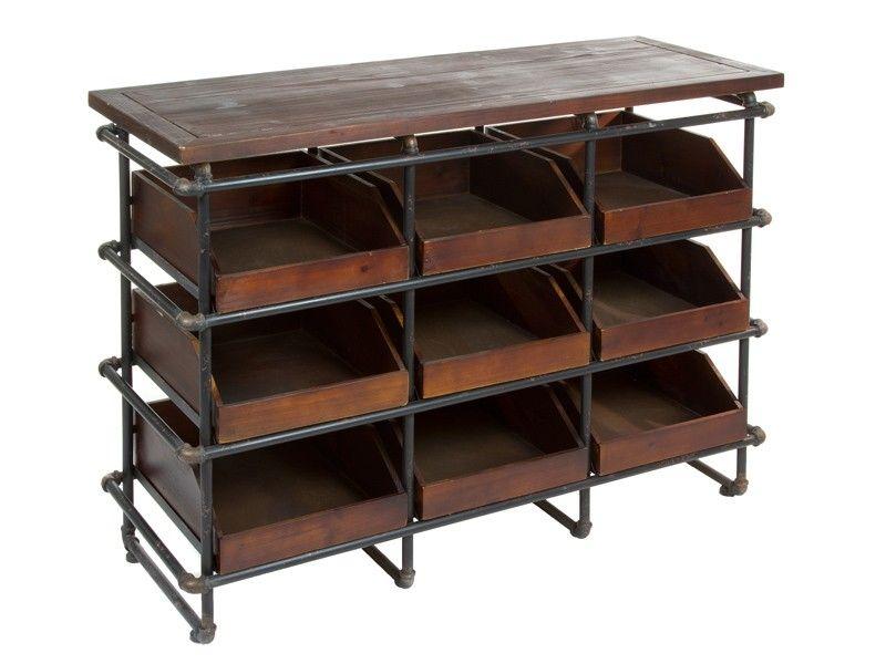 Cajonera industrial abierta de hierro y madera muebles for Cajonera estilo industrial