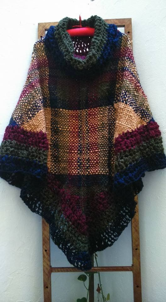 Poncho Tejido Artesanal Telar Crochet Lana -   800 0f5b5c818569