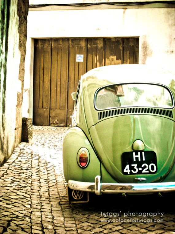 Olive Green Vintage Style Print, Car Photography, Wall Decor ...