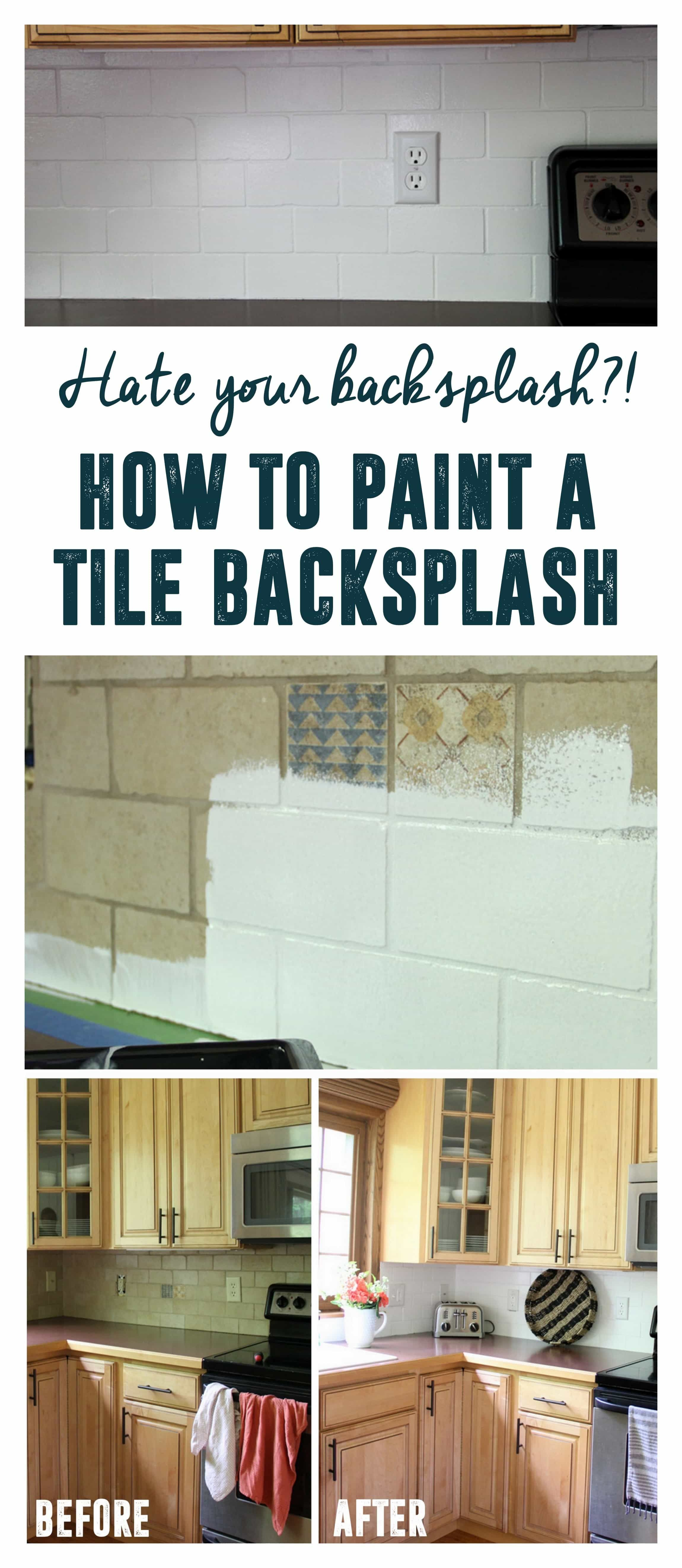 How to Paint a Tile Backsplash - Diy tile backsplash, Diy backsplash, Tile backsplash, Painting tile, Kitchen tiles backsplash, Paint backsplash - Hey friends! I am so happy that you're here today! If you follow me on instagram you may have seen that last week I decided to take a big gamble and attempt to paint my backsplash! I'm happy to report that it turned out amazing! Maybe you hate your backsplash too  If so I am so excited to teach you how to paint a tile backsplash! This is what I started with  A dated an dingy tile backsplash, that wasn't horrible, but also didn't fit my modern style  I started this project the way every DIY seems to start, by cleaning with