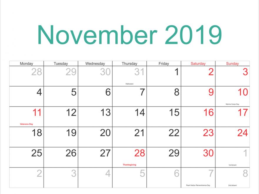 Printable November 2019 Holidays Calendar Nov November November2019 Novembercalendar2019 201 Holiday Calendar Printable February Calendar January Calendar