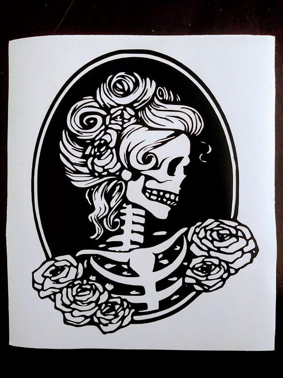 15a4b1492f4071 Skeleton Pinup Girl Decal/Skeleton Silhouette Sticker/Skeleton Cameo Decal/Bumper  Sticker/Car Decal/