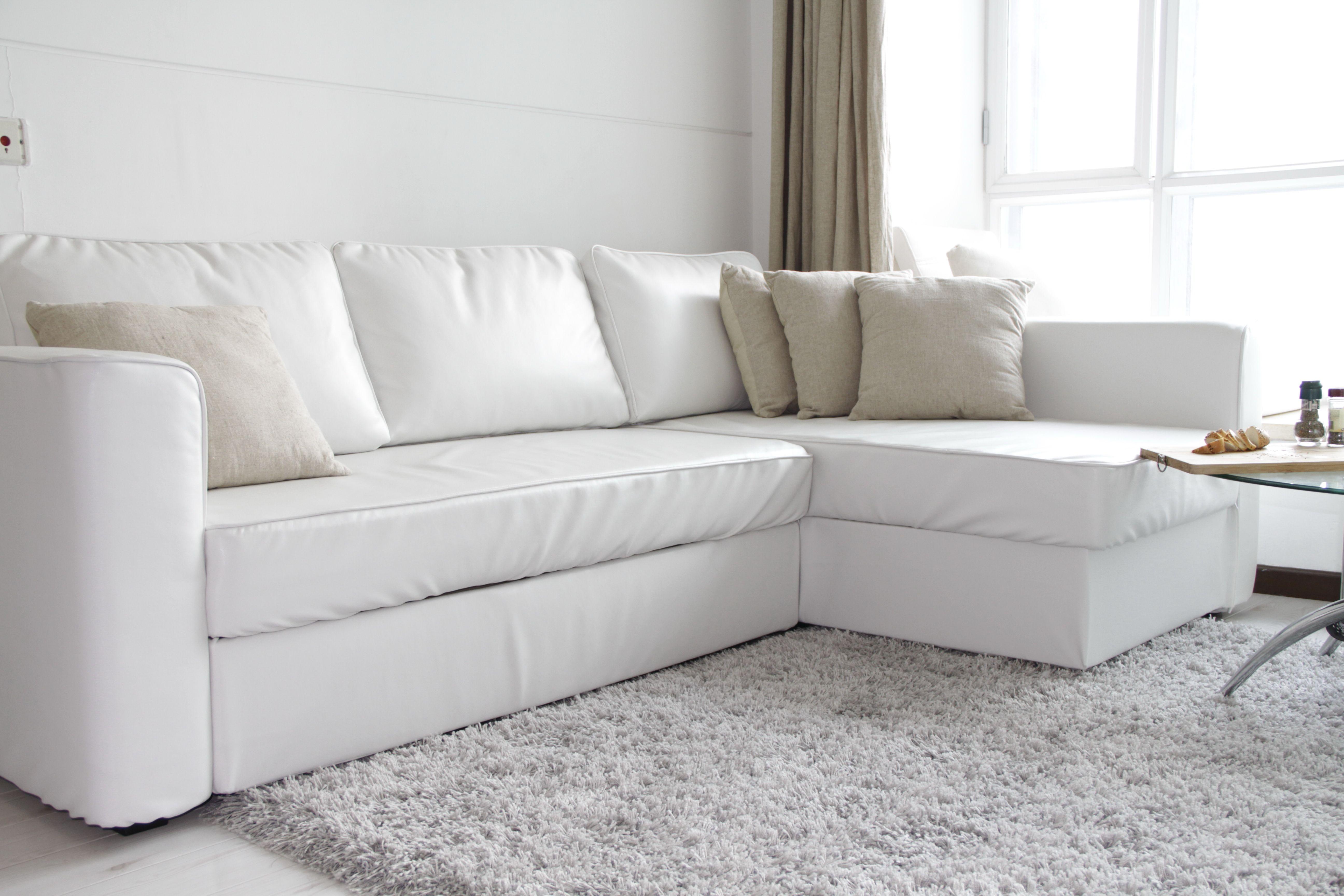 Ikea White Leather 2 Seater Sofa In 2020 Sectional Sofa Slipcovers Ikea Sofa Custom Couches