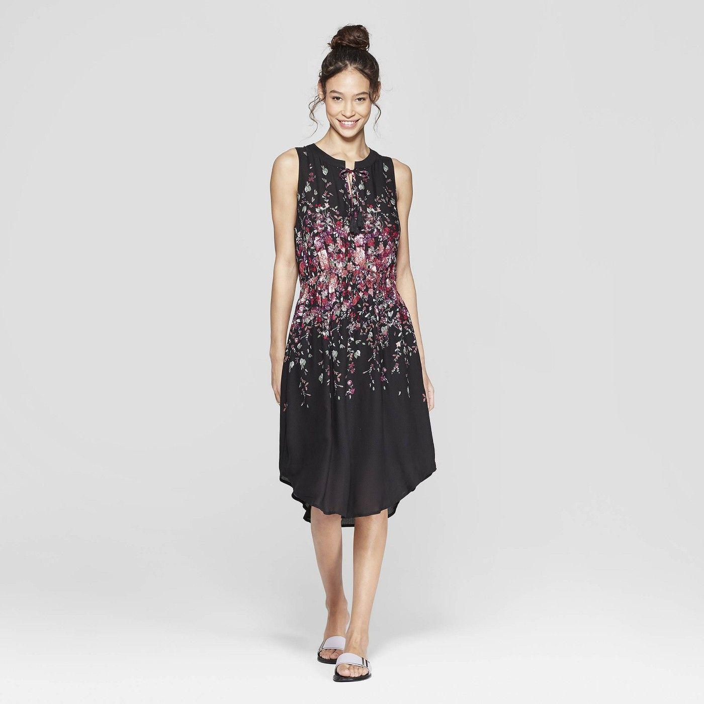 Women S Floral Print Sleeveless V Neck Cinched Waist Midi Dress Xhilaration Black Target Floral Dress Black Fit And Flare Dress Dresses [ 1400 x 1400 Pixel ]