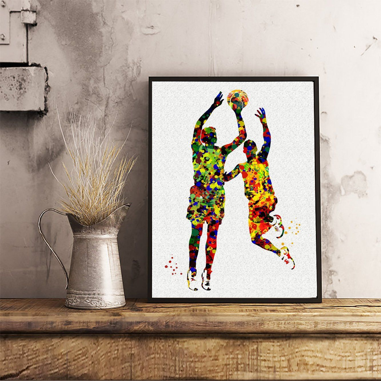 dining room artwork prints. Basketball Player Watercolor Posters Sports Art Prints Wall Decor Artworks Dining Room Artwork