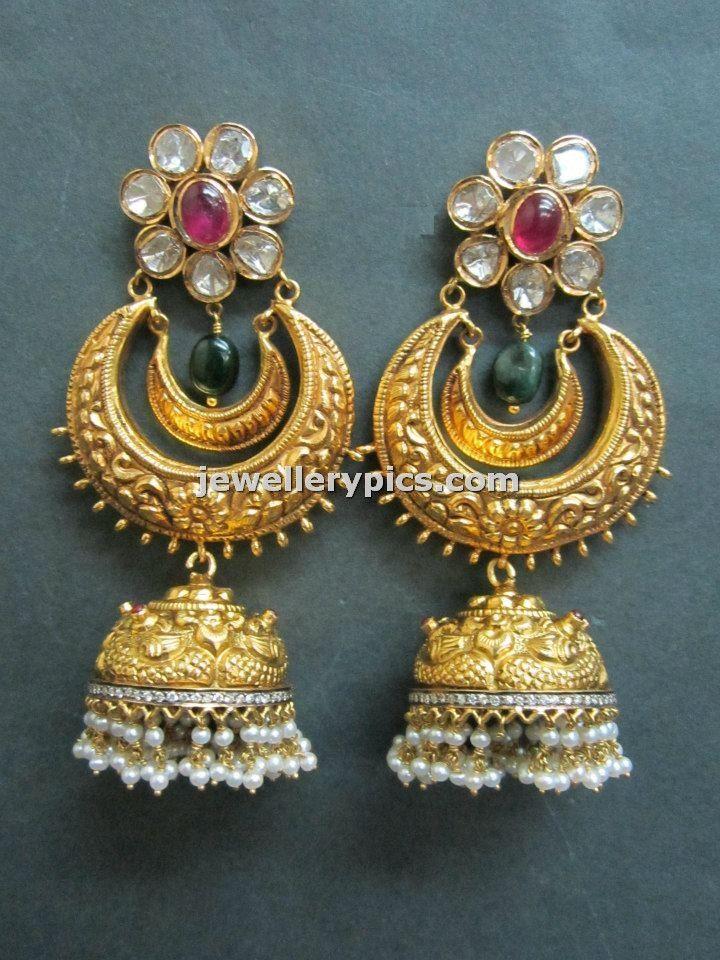 Gold Nakshi jhumka des...