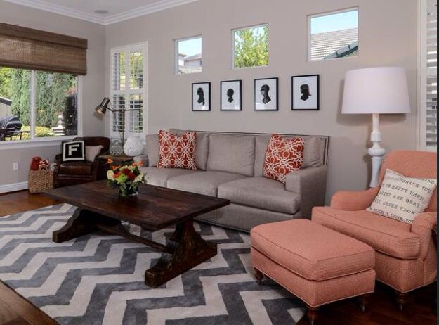Gray And Coral Living Room Coral Living Rooms Living Room Grey Transitional Living Rooms