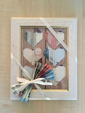 Tutorial/Anleitung: Geld falten Herzen – DIY Hochzeitsgeschenk im Bilderrahmen #corsages