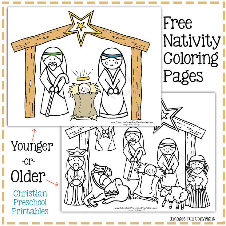 Simple Nativity Coloring Page for little ones | Nativity ...