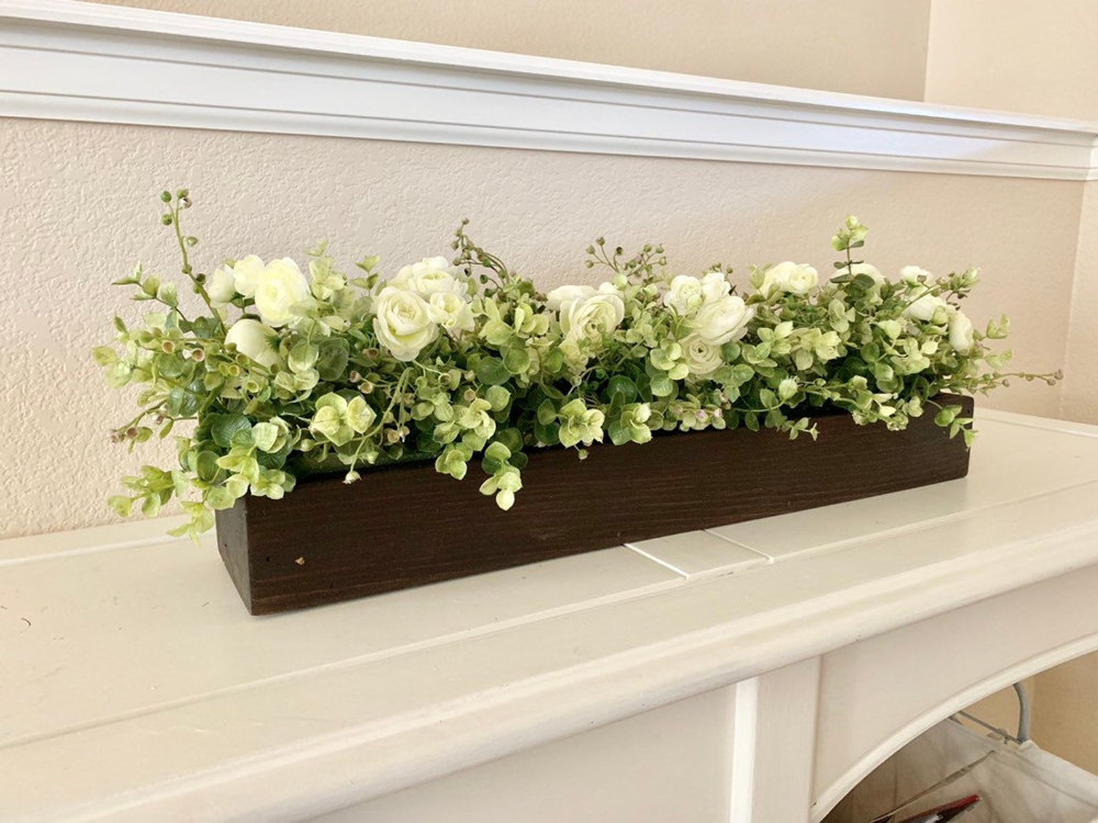 Photo of Rustic Planter Box Centerpiece with Greenery, Farmhouse Table Centerpiece, Floral Arrangements with Greenery, Mantle Decor