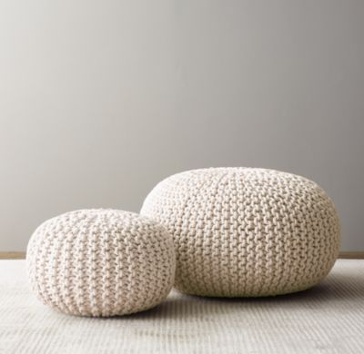 Excellent Metallic Knit Cotton Round Pouf Natural Knitted Pouf Pdpeps Interior Chair Design Pdpepsorg