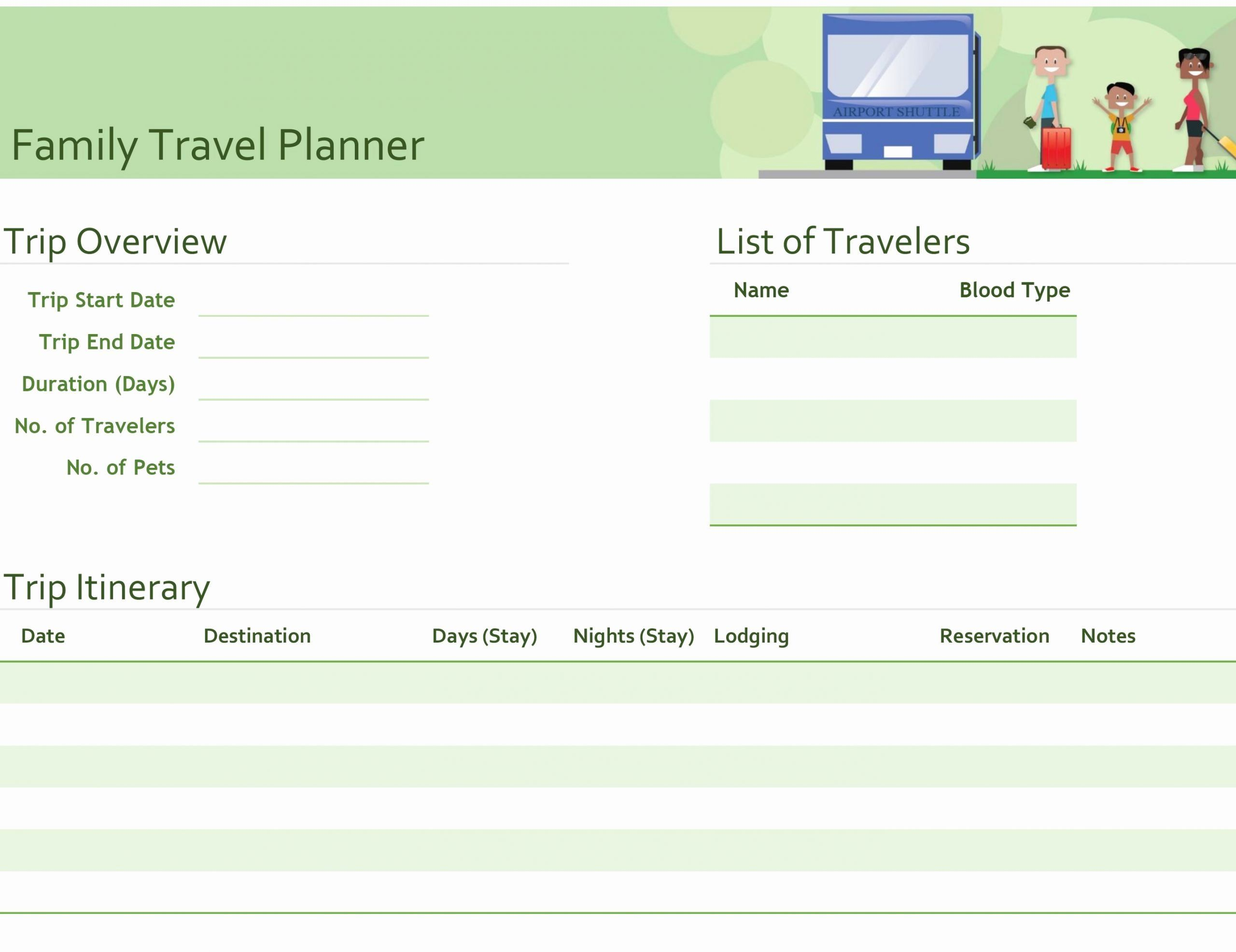 Travel Itinerary Planner Template Lovely Business Trip