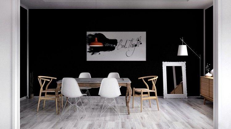 Esszimmer Wand Schwarz Streichen Abstrakte Wanddeko #Innendesign