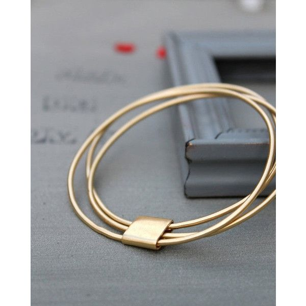 Gold Stack Bracelet Set Of 3 Bracelets Thin Bangle Stacking 57 Liked On Polyvore Featuring Jewelry Yellow