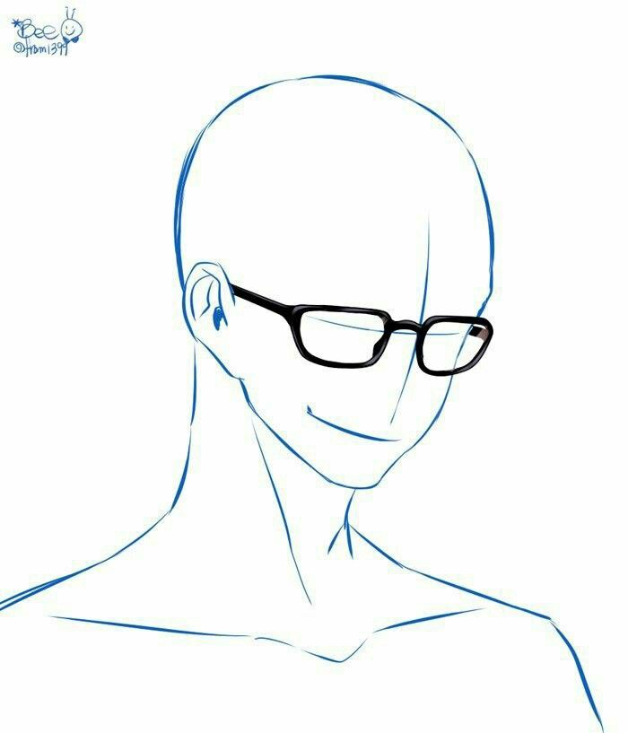 Face With Glasses On Drawings Drawing Base Art Poses