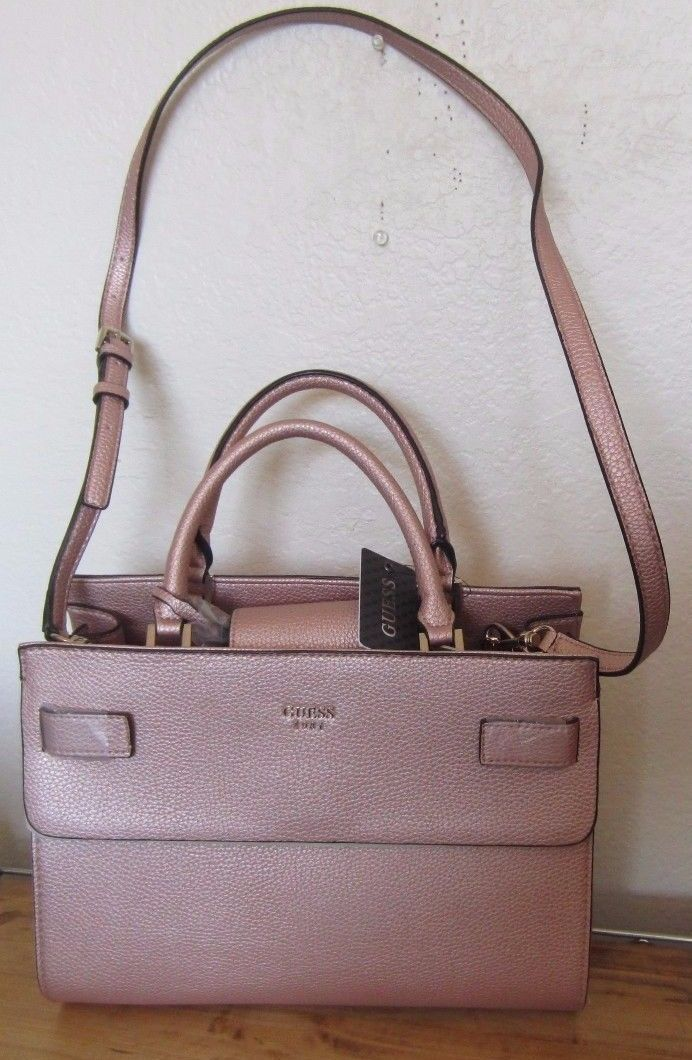 52a8a8c4ee GUESS Marciano Metallic Pink Mauve Rose Gold CATE Satchel Tote Bag Purse NWT