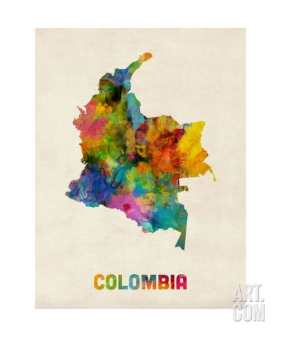 Colombia Watercolor Mapby Michael Tompsett In 2019 Watercolor