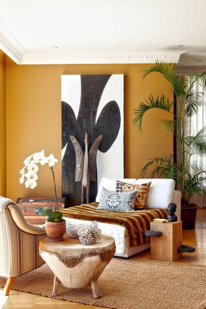 salon de style chic ethnique aux nuances naturelles, déco en bois ...