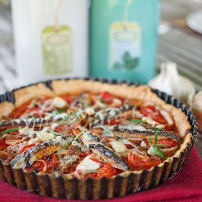A Seafood Tart with a Chickpea Crust - Sardine, Tomatoes and Anchovies