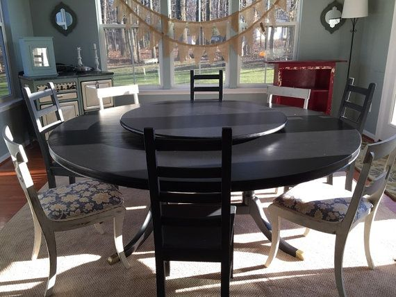 Black Wood Lazy Susan Table Centerpiece Painted Or Ebony Stain Etsy Lazy Susan Table Table Centerpieces New Homes