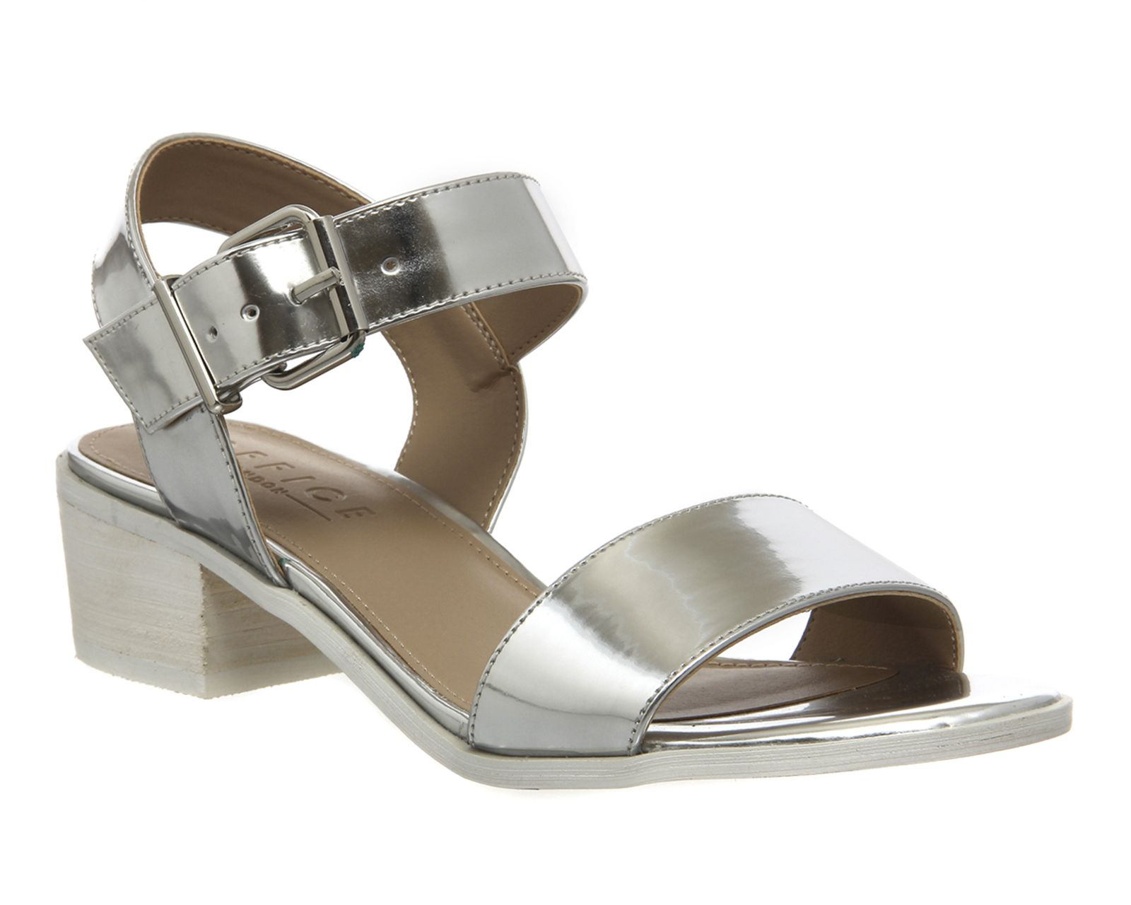 904301d6df6 Buy Silver Mirror Office Williamsburg Block Heel Sandals from OFFICE.co.uk.