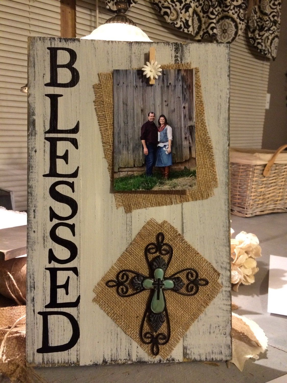 BLESSED handpainted burlap pallet board/repurposed barnwood lumber photo frame -   25 burlap crafts board